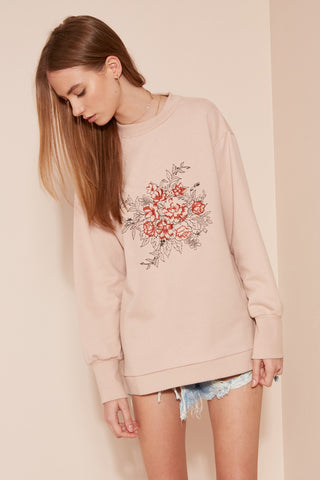 Graphic Sweatshirt with Back Cut-Out