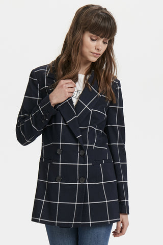Windowpane Check Double-Breasted Blazer