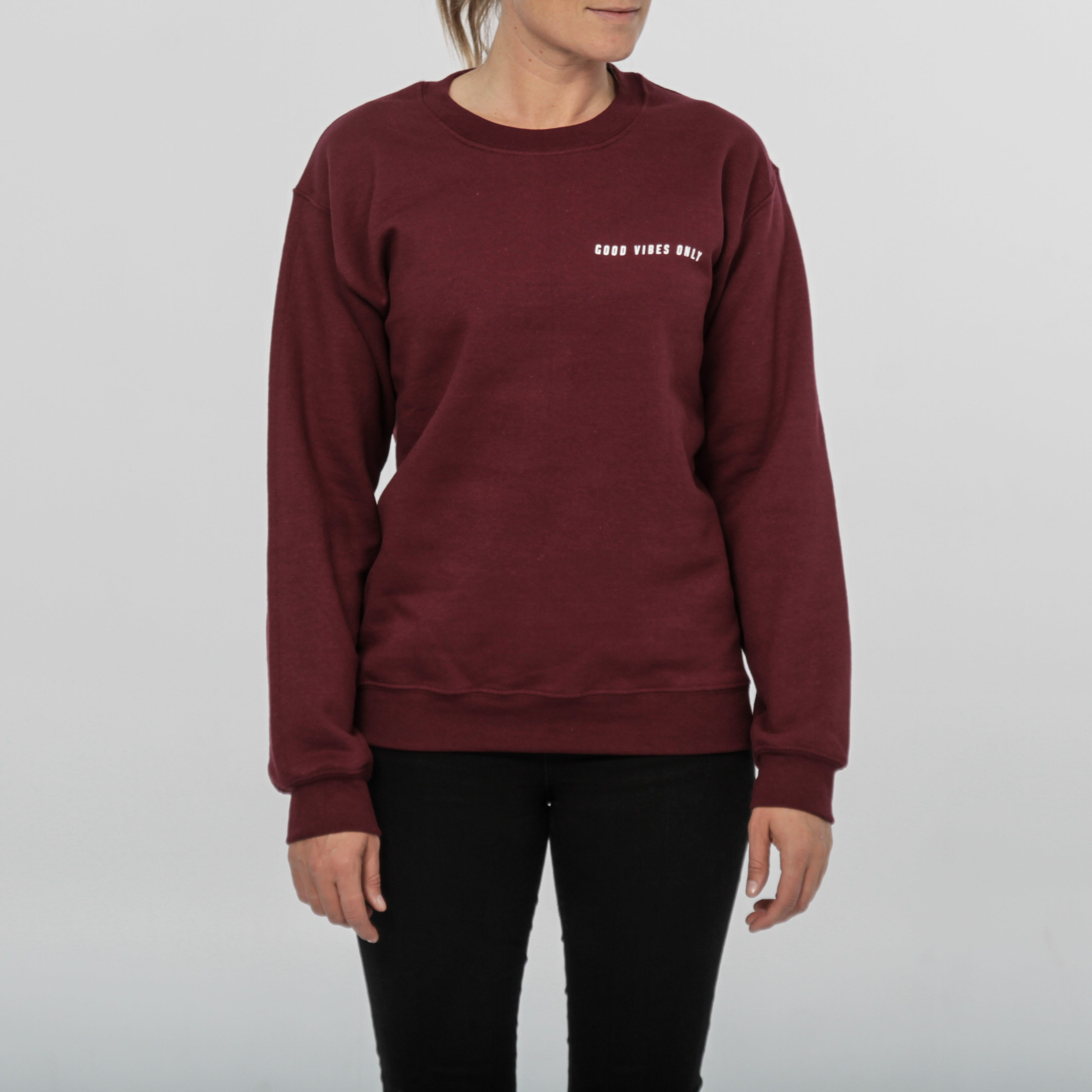 Good Vibes Only Crewneck - Burgundy - Out of the