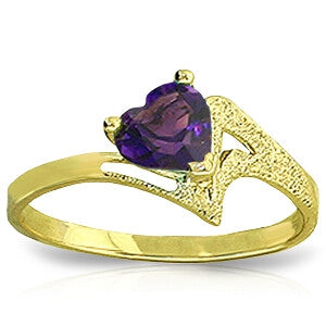 0.75 Carat 14K Solid Gold Ring Natural Purple Amethyst