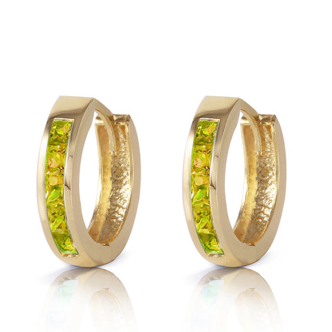 1 Carat 14K Solid Gold Hoop Huggie Earrings Peridot