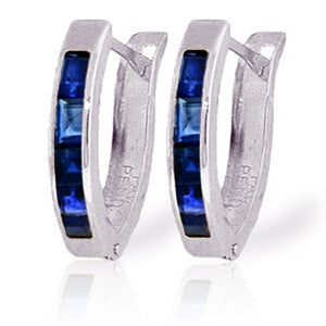 1.3 Carat 14K Solid White Gold Oval Huggie Earrings Sapphire