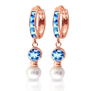 4.3 Carat 14K Solid Rose Gold Huggie Earrings Pearl Blue Topaz