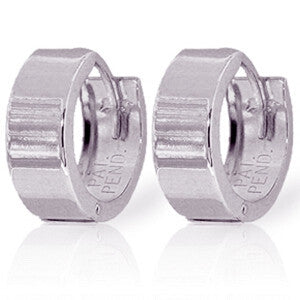 14K Solid White Gold Love Those Huggies Earrings