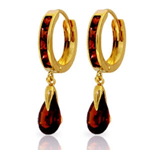 4.3 Carat 14K Solid Gold Hoop Earrings Dangling Garnet