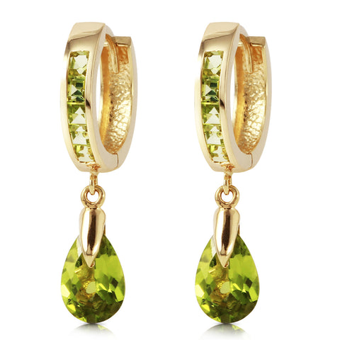 3.9 Carat 14K Solid Gold Huggie Earrings Dangling Peridot