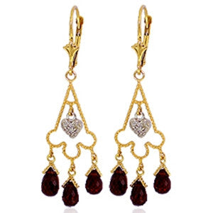 6.33 Carat 14K Solid Gold Chandelier Diamond Earrings Garnet