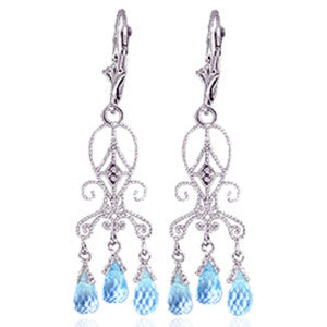 4.81 Carat 14K Solid White Gold Chandelier Diamond Earrings Blue Topaz
