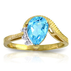 1.52 Carat 14K Solid Gold Homecoming Blue Topaz Diamond Ring