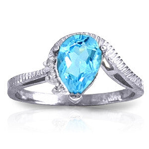 1.52 Carat 14K Solid White Gold Justify My Truth Blue Topaz Diamond Ring