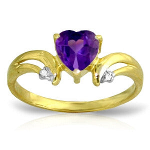 0.96 Carat 14K Solid Gold Boost Your Mood Amethyst Diamond Ring