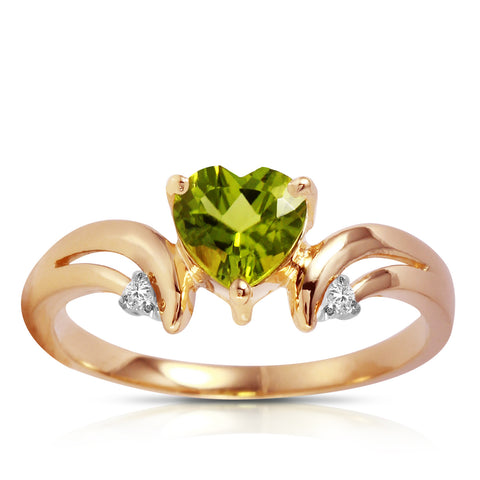 1.26 Carat 14K Solid Rose Gold Ring Diamond Peridot