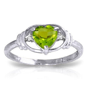 0.61 Carat 14K Solid White Gold Think Of Fairness Peridot Diamond Ring