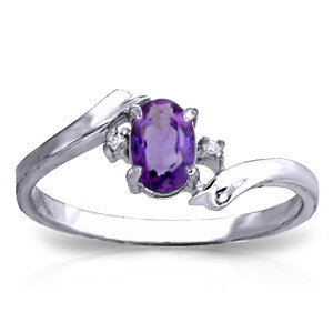 0.46 Carat 14K Solid White Gold I Feel Joy Amethyst Diamond Ring