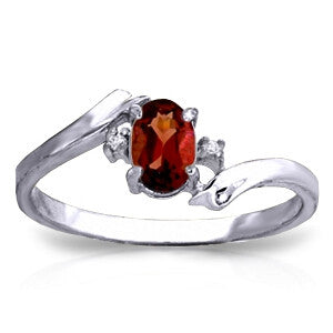 0.46 Carat 14K Solid White Gold I Must Confess Garnet Diamond Ring