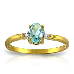 0.46 CTW 14K Solid Gold Yes Oh Yes Blue Topaz Diamond Ring