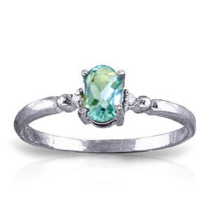 0.46 CTW 14K Solid White Gold Glimpse Into Life Blue Topaz Diamond Ring