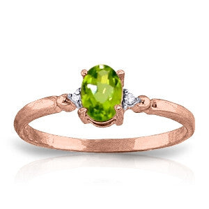 0.46 CTW 14K Solid Rose Gold Young Love Peridot Diamond Ring