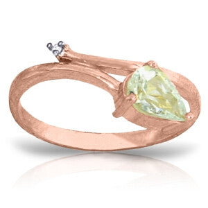 0.83 CTW 14K Solid Rose Gold Snake Charm Aquamarine Ring