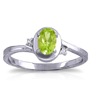 0.51 CTW 14K Solid White Gold Rings Diamond Peridot
