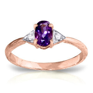 0.46 Carat 14K Solid Rose Gold Oval Amethyst Diamond Ring