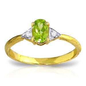 0.46 Carat 14K Solid Gold For Your Eyes Peridot Diamond Ring