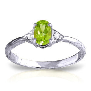 0.46 Carat 14K Solid White Gold L'aurora Peridot Diamond Ring