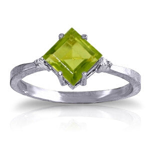 1.77 Carat 14K Solid White Gold Meant For Me Peridot Diamond Ring