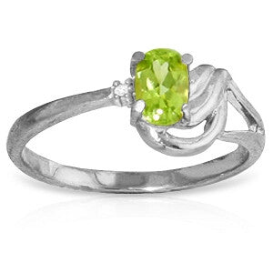 0.46 CTW 14K Solid White Gold Small Pleasures Peridot Diamond Ring