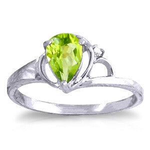 0.66 Carat 14K Solid White Gold Relish Joy Peridot Diamond Ring