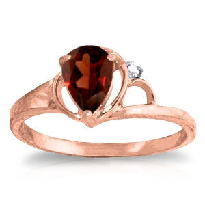 0.66 Carat 14K Solid Rose Gold Victoria Garnet Diamond Ring