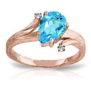 1.51 Carat 14K Solid Rose Gold Lovelight Blue Topaz Diamond Ring