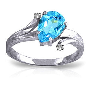 1.51 CTW 14K Solid White Gold Only Hold You Blue Topaz Diamond Ring