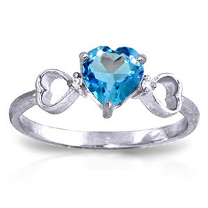 0.96 Carat 14K Solid White Gold Carry You Home Blue Topaz Diamond Ring