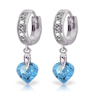 1.77 CTW 14K Solid White Gold Blue Topaz Diamond Earrings