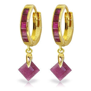 3.7 Carat 14K Solid Gold Hoop Earrings Dangling Ruby