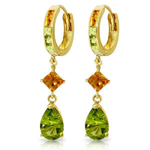 5.15 CTW 14K Solid Gold Huggie Earrings Dangling Peridot Citrine