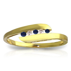 0.25 CTW 14K Solid Gold Ring Channel Set Diamond Sapphire