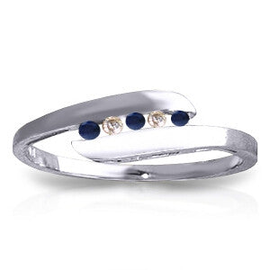 0.25 CTW 14K Solid White Gold Ring Channel Set Diamond Sapphire