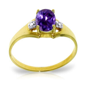 0.76 Carat 14K Solid Gold Bow To You Amethyst Diamond Ring