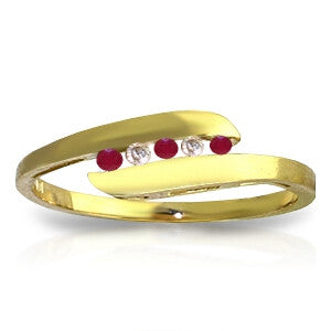 0.25 Carat 14K Solid Gold Ring Channel Set Diamond Ruby