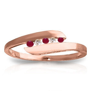 0.25 Carat 14K Solid Rose Gold Ring Channel Set Diamond Ruby