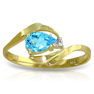 0.41 Carat 14K Solid Gold Confidence Is Key Blue Topaz Diamond Ring