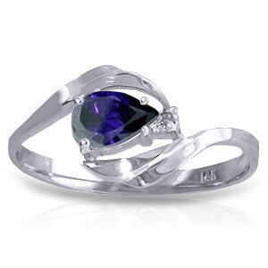 0.51 CTW 14K Solid White Gold Shower Music Sapphire Diamond Ring