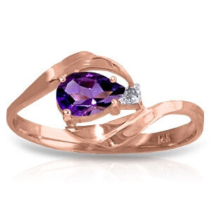 0.41 CTW 14K Solid Rose Gold Waves Amethyst Diamond Ring