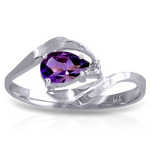 0.41 Carat 14K Solid White Gold Unbeatable Amethyst Diamond Ring