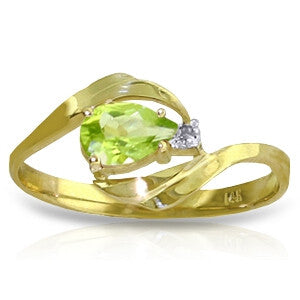 0.41 Carat 14K Solid Gold Indulge In Passion Peridot Diamond Ring