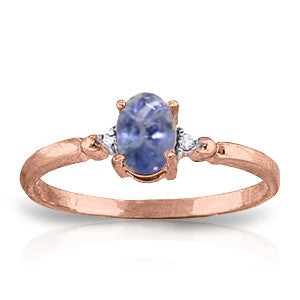 0.46 Carat 14K Solid Rose Gold Ring Natural Diamond Tanzanite