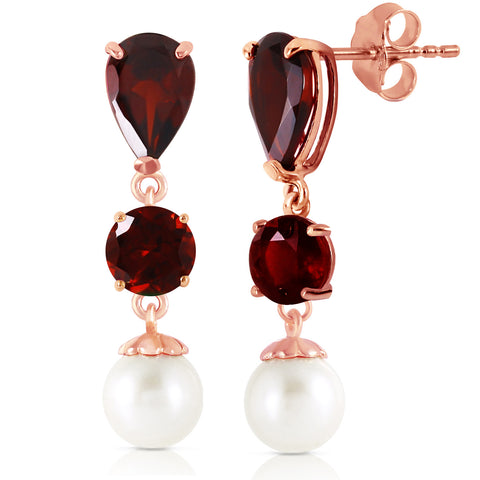 10.5 CTW 14K Solid Rose Gold Chandelier Earrings Garnet Pearl