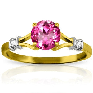 1.02 Carat 14K Solid Gold Pink Rocks Pink Topaz Diamond Ring